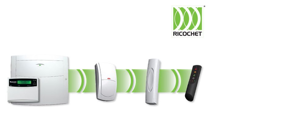 Image of Ricochet ireless alarm system from Texeco featuring the new micro contact